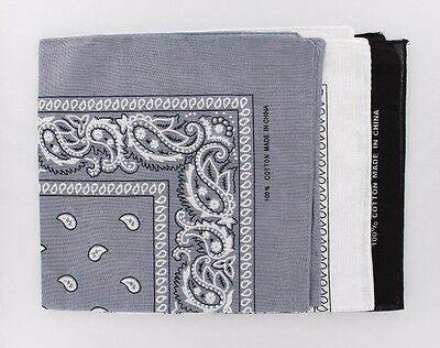 Lot of 3Pcs  Paisley Unisex Head Wrap Wristband Scarf Bandana Black White Gray