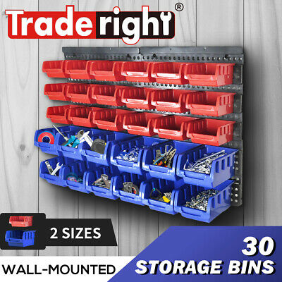 30 Bin Wall Mounted Rack Storage Organiser Bins Garage Shed Work Bench Workshop