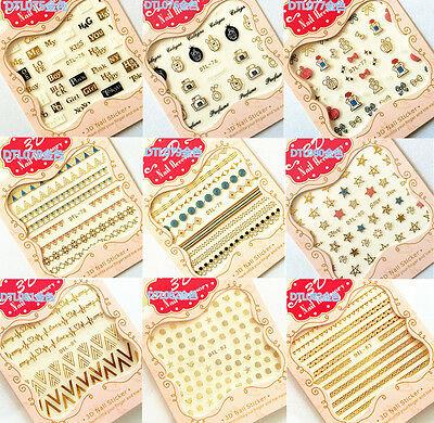 Manicure Decoration Stamping Hot Mix Tips Gold Nail Art Stickers Decal 3D DIY