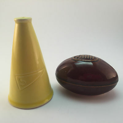 VTG Brown Football and Yellow Megaphone Salt and Pepper Shakers