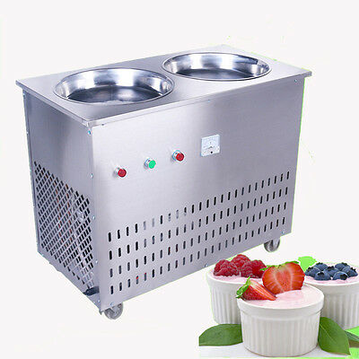 Double Pan Fried Ice Cream machine Thailand Fruit Ice Cream Roll Maker 220V Y