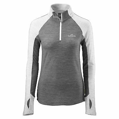 Kathmandu Depart Womens Merino 1/4 Zip Long Sleeve Hooded Active Pullover Top