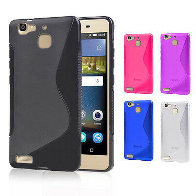 New S CURVED GEL TPU CASE COVER For Huawei GR3 + Screen Protector