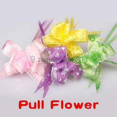 10 Pcs Colorful Gift Wrap Pull Flower Bow Wedding Christmas Party Decor Lace