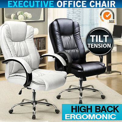 Deluxe Executive Office Chair Premium PU Faux Leather Computer Work