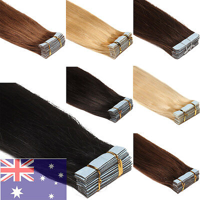 AU Ship Remy Human Hair Extensions Tape in Skin Weft Straight Hair16''-22''20Pcs