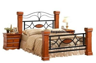 NEW King size 5ft Bed Frame Metal & Oak Mahogany Wooden Posts