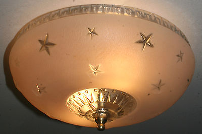 Antique glass pink stars flush mount art deco light fixture ceiling chandelier