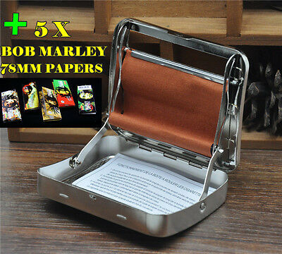 1 X 78MM Rolling Machine Box With Brown Soft Fabric 5 BOB Cigarette Papers