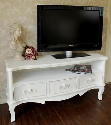 White wooden tv unit cabinet shabby ornate chic vintage living room furniture