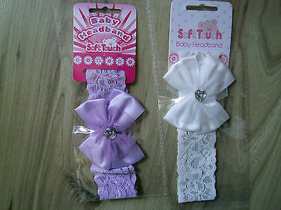 Baby Party/Wedding Girls Bow Net White Purple/Lilac  Lace Headbands/Hairband