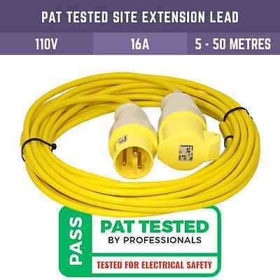 Pat Tested 110V Yellow Extension Lead With Plug And Socket 5M - 50M Site Lights