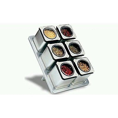 Carteret Home Collection CHC-90431 Magnetic Spice Rack With 6 Tin Jars Brand New