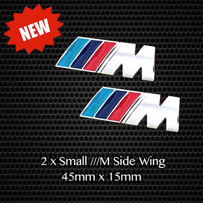 2 x ///M Sport Tech Small Badge Side Wing Quality Chrome Metal Emblem Decal