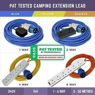 Pat Tested Camping Electric Hook Up Lead 1 Way-6 Way Sockets Extension Lead 240V