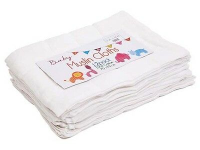 White 100% Cotton 12 Pack Baby Muslin Squares/Cloths
