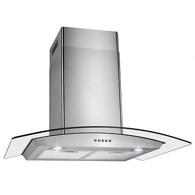 "GTC Kitchen Stainless Steel 30"" Glass Wall Mount Range Hood Stove Vents"