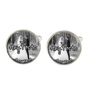 Personalised Wedding Day Any Photo & Text Mens Cufflinks Ideal Wedding Gift C57