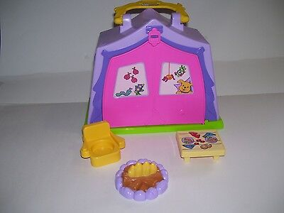 Fisher Price Little People PURPLE PINK Campsite Play N Go TENT Carrier 2010 4 PC