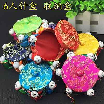 Wholesale 6pcs Chinese Handmade Silk Satin Pin Cushions With 6 Cute Baby Dolls