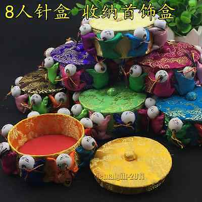 Wholesale 6pcs Chinese Handmade Silk Satin Pin Cushions With 8 Cute Baby Dolls