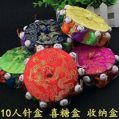 Wholesale 6pcs Chinese Handmade Silk Satin Pin Cushions With10 Cute Baby Dolls