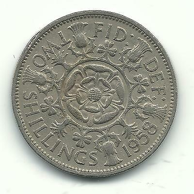 Better Grade 1958 Great Britain 1 Florin Or 2 Two Shillings Coin-Dec269