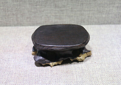 pedestal stand display Black wood Chinese new root base for netsuke bottle.. #10