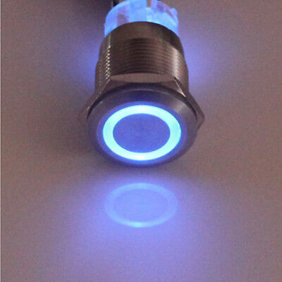 12V 19mm Blue LED Power Symbol Angel Eye Push Button Toggle Metal ON/OFF Switch