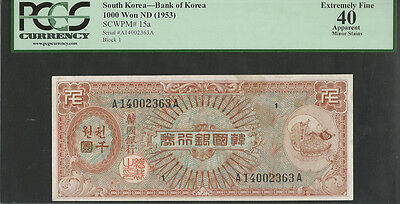 Korea 1953 Pick 15a 1000 Hwan Block 1 PCGS 40