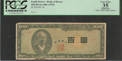 Korea 1953 (4286) Pick 18 100 Hwan Block 4 PCGS 35