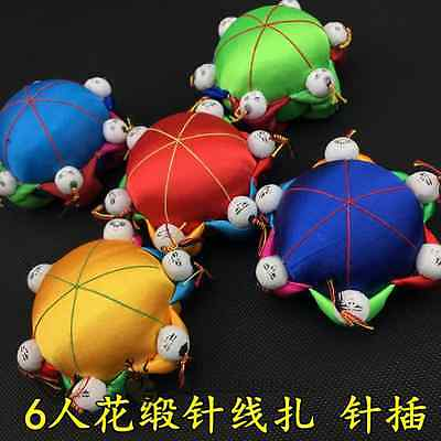 Wholesale 6pcs Handmade Chinese Silk Satin Pin Cushions With 6 Cute Kids