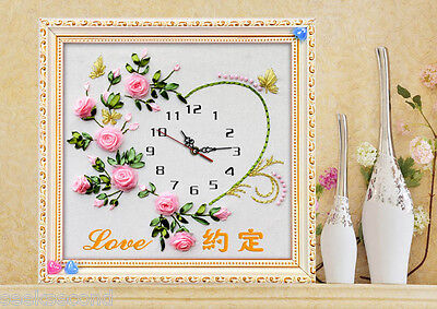 Ribbon Embroidery Kit Flowers Love Oath Clock Face with Clock Movement RE3061