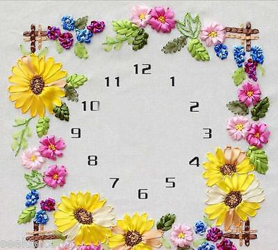 Ribbon Embroidery Kit Sunlowers Clock Face with Clock Movement Needlework RE3062
