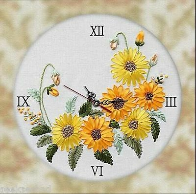 Ribbon Embroidery Kit Unique Sunflowers Clock Face with Clock Movement RE3064