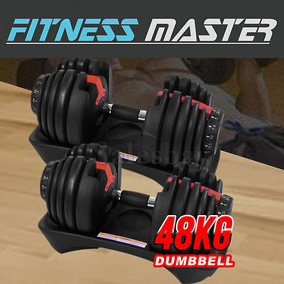 NEW 48kg Adjustable Dumbbell Set Home GYM Exercise Equipment Weight 2x24kg
