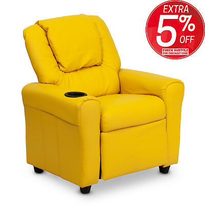 Premium Kid Children Leather Recliner Lounge Chair Sofa With Drink Holder Yellow