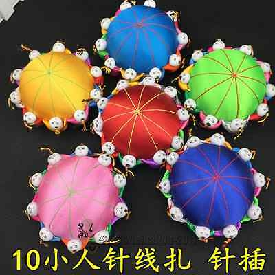 Wholesale 6pcs Handmade Chinese Silk Satin Pin Cushions With10 Cute Kids