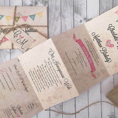 Personalised Wedding Invitations & Evening Invites - Bunting Vintage Handmade