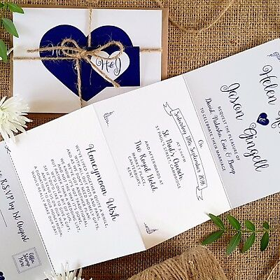 Personalised Wedding Invitations & Evening Invites - heart & Twine Handmade