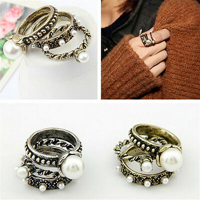 3PCS Retor Bronze Elegant Women Artificial Pearl Flower Knuckle Set Finger Ring