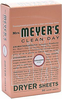 Clean Day Dryer Sheets, Mrs. Meyer's, 80 sheets Geranium