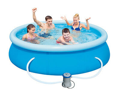 """Easy Fast Set 10ft x 30"""" Family Swimming Paddling Pool Garden With Filter Pump"""
