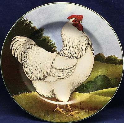 David Carter Brown ON THE FARM Rooster Salad Bread Dessert Plate Chicken 2L