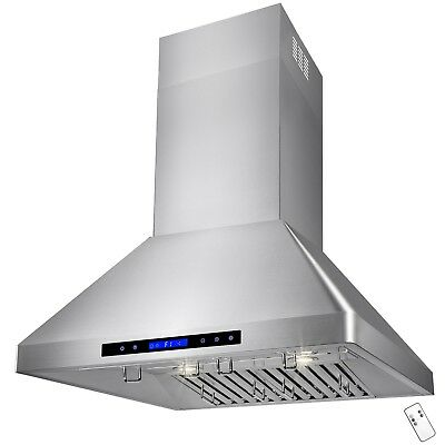 """30"""" Stainless Steel Wall Mount with Touch Screen Kitchen Vents Range Hood"""
