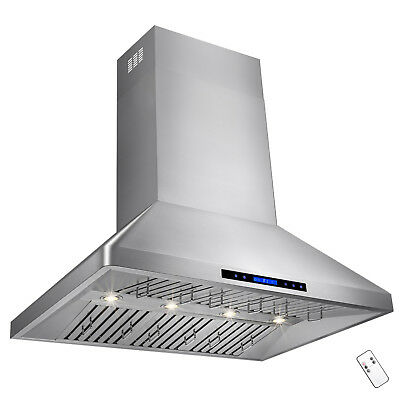 """42"""" Stainless Steel Touch Screen Kitchen Vents Dual Motor Wall Mount Range Hood"""