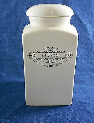 """White Ceramic Coffee Canister World Market 7"""" Tall 4"""" Wide Black Label"""