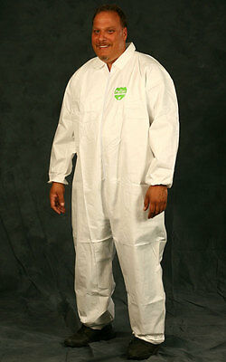 Case of 25 Disposable WHITE Microporous Coveralls Suit Zip Straight Leg Size 2XL