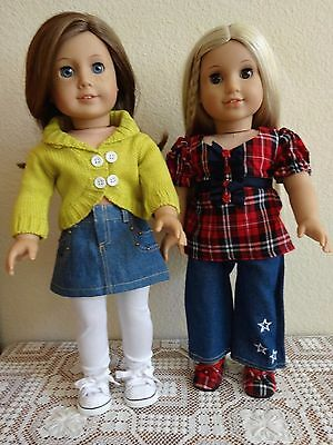 """NEW-DOLL CLOTHES:Denim Pants/Skirt/Top Sets-Lot 235_fit 18"""" Doll such as AG Doll"""