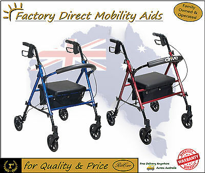 Drive Adjustable Seat Height Walker Rollator Versatile!